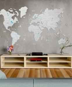 2D mapa světa ze dřeva, na stěnu, v bílé barvě
