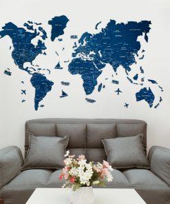 2D dřevěná mapa světa - barva modrá s řekami