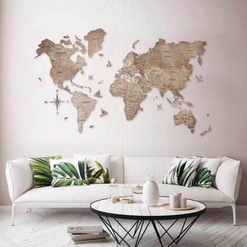 2D dřevěná mapa světa - barva terra