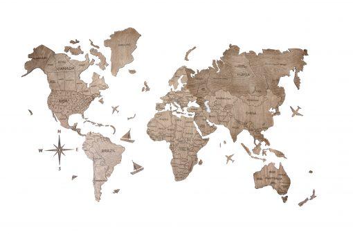 2D dřevěná mapa světa - bartva terra