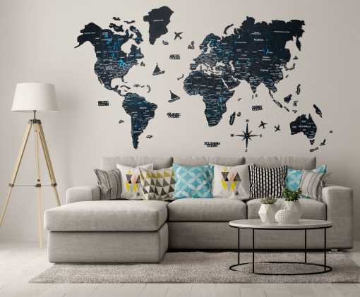 2D dřevěná mapa světa - barva černá s řekami