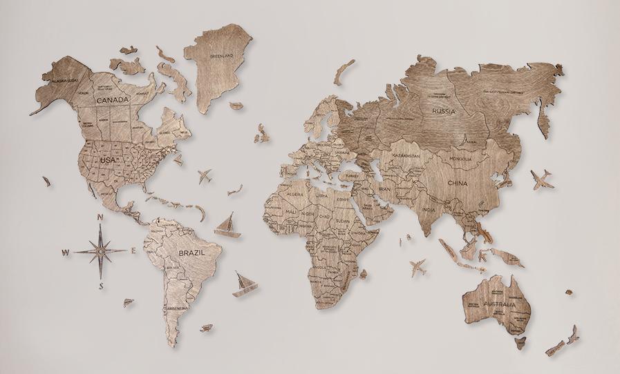 2D Mapa Světa - dřevěná
