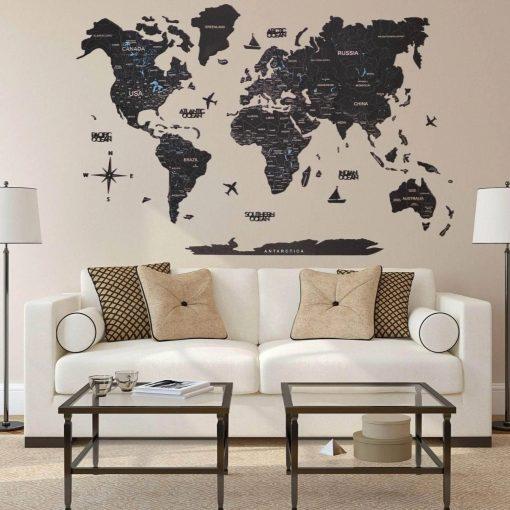 D mapa světa z korku - barva černá
