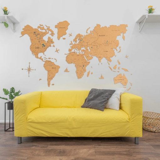 D mapa světa z korku - barva hnědá