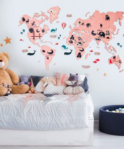 2D Mapa světa ze dřeba pro děti, barva růžová