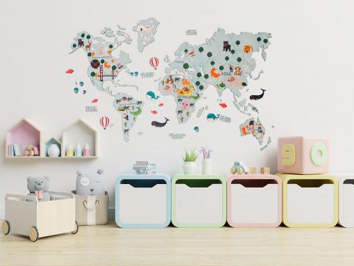 2D Mapa světa ze dřeba pro děti, barva tyrkysová
