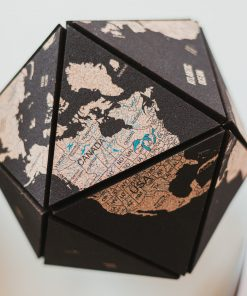 3D glóbus světa z korku - barva černá
