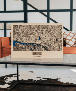 3D mapa města Hamburg, ze dřeva