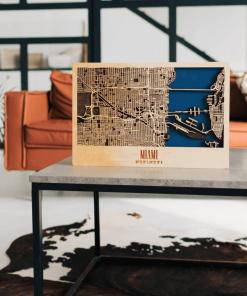 3D mapa města Miami, ze dřeva