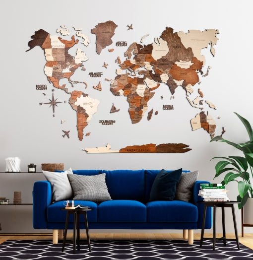 3D Mapa Světa ze dřeva v obývacím pokoji