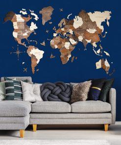 3D Mapa světa v obýváku s modrou stěnou