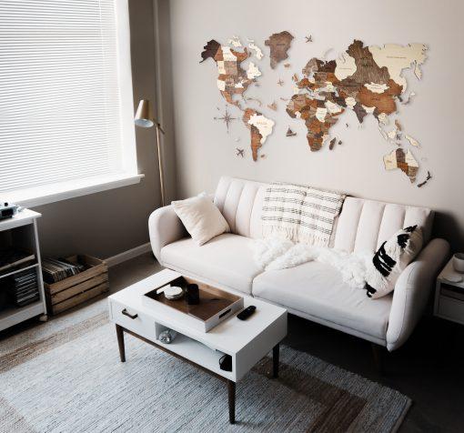 3D Mapa světa v malém obýváku