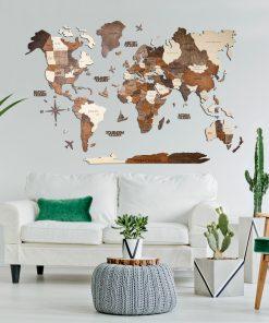 3D Mapa světa ze dřeva v obýváku