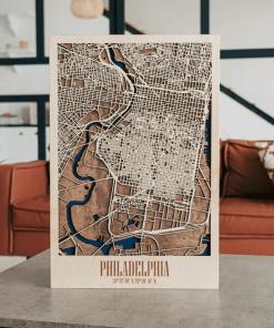 3D dřevěná mapa města - Philadeplhie, USA