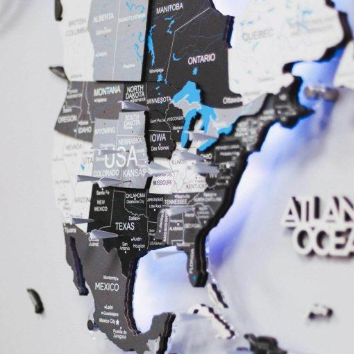 3D dřevěná mapa světa - šedá na akrylu s led podsvícením