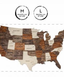 3D dřevěná mapa USA - vícevrstvá, na zeď