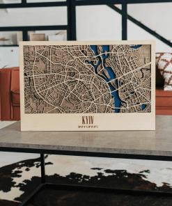 3D mapa města - Kyjev - ze dřeva