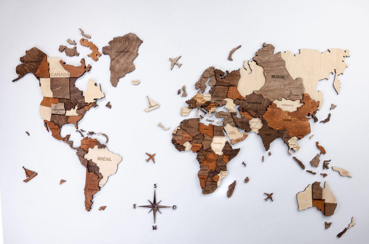 3D mapa světa detailně