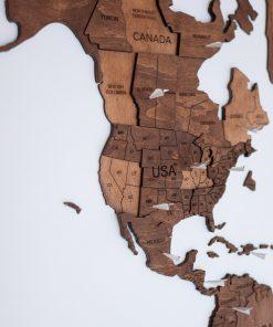 3D Mapa Světa - dřevěná, nástěnná - barva dub - detailně