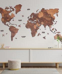 3D Mapa Světa - dřevěná, nástěnná - barva dub, obývák