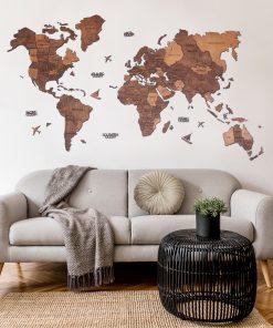 3D Mapa Světa - dřevěná, nástěnná - barva dub