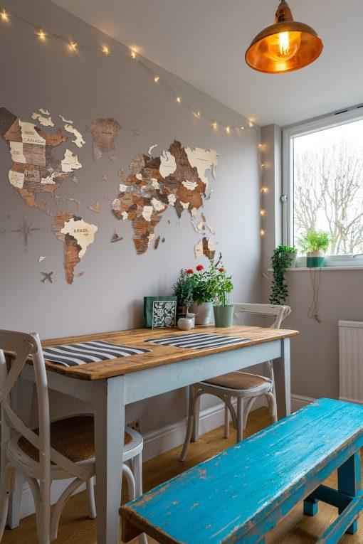 3D Mapa Světa v kuchyni