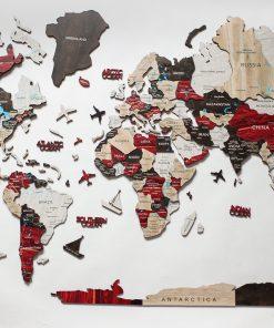 3D mapa světa ze dřeva - barva urban