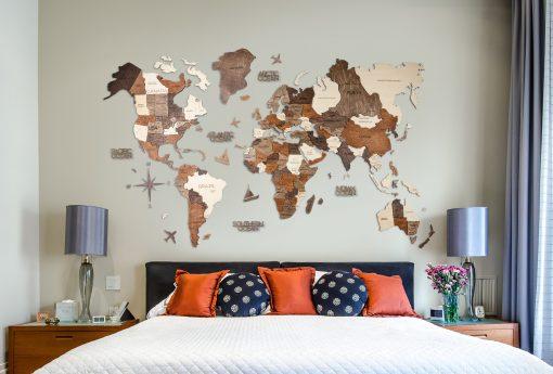 3D Mapa Světa v ložnici