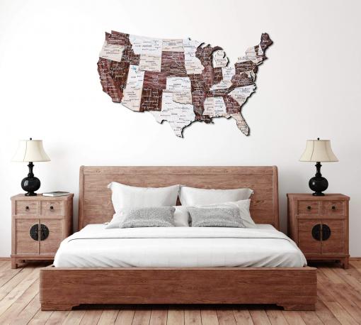 3D Mapa USA ze dřeva - barva cappuccino