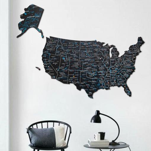3D Mapa USA ze dřeva - barva černá