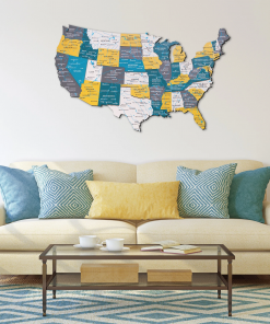 3D Mapa USA ze dřeva - barva country