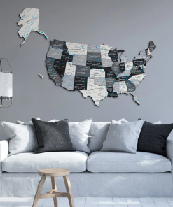 3D Mapa USA ze dřeva - barva nordik