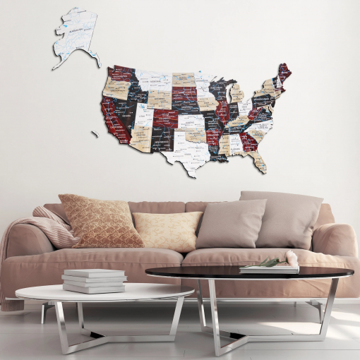 3D Mapa USA ze dřeva - barva urban