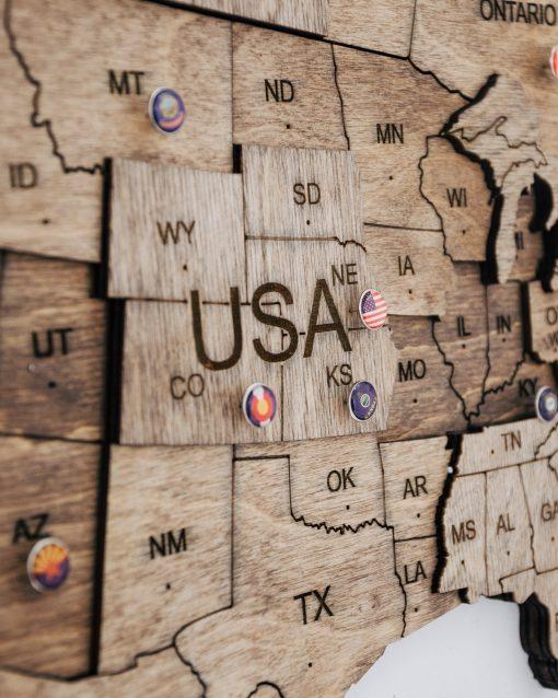 3D Mapa Světa - dřevěná, nástěnná - barva terra, detailně
