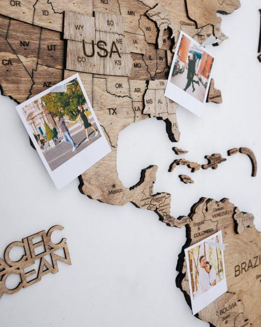 3D Mapa Světa - dřevěná, nástěnná - barva terra, detailně s fotkou