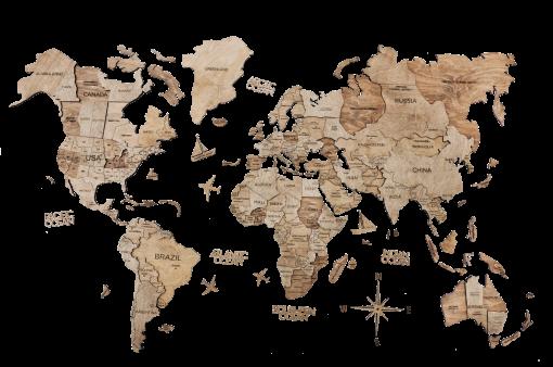 3D Mapa Světa - dřevěná, nástěnná - barva terra, detailní