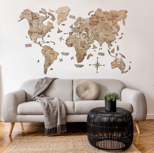 3D Mapa Světa - dřevěná, nástěnná - barva terra, obývák