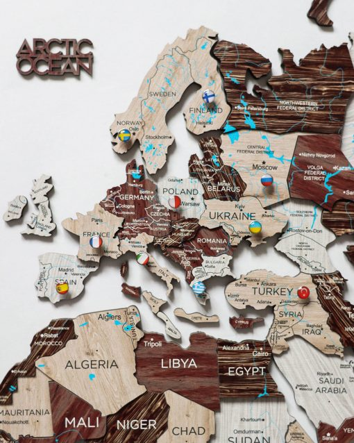 3D nástěnná mapa světa - barva cappuccino