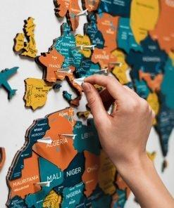 3d Nástěnná mapa světa na zeď - barva Indie