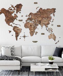 3D Mapa Světa - dřevěná, nástěnná - barva tmavý ořech, obývák