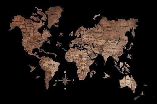 3D Mapa Světa - dřevěná, nástěnná - barva tmavý ořech, detailně