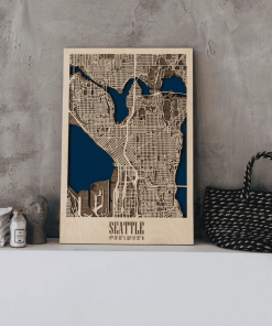 Seattle - 3D Mapa Města ze dřeva