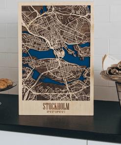 Stockholm - 3d mapa města ze dřeva, gravírovaná