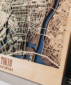Tokyo - 3D Dřevěná mapa města