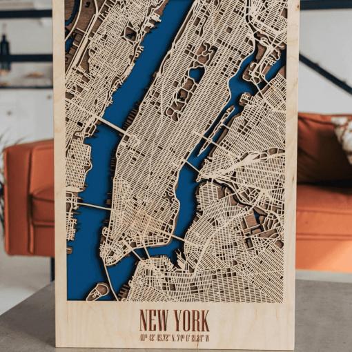 Dřevěná 3D mapa města - New York