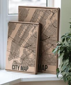 Dřevěná, gravírovaná 3D mapa města Boston v USA