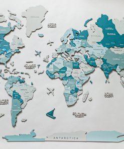 Dřevěná 3D mapa světa na zeď - barva Aqua