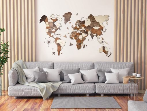 Dřevěná 3D mapa světa ve velkém obývacím pokoji