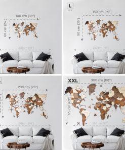Dřevěná 3D Mapa světa - druhy a velikosti
