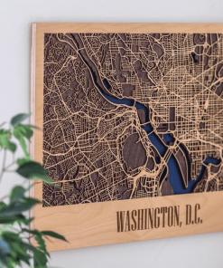 3D dřevěná mapa města - Washington D.C., USA